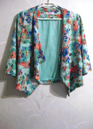 Пиджак жакет mgn moda girls nice разноцветный цветочный принт ...