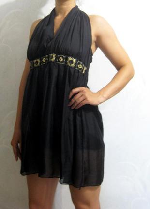 Платье сарафан чёрное миди летнее с отделкой пайетки узор