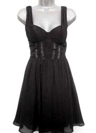 Платье сарафан h&m чёрное корсет миди