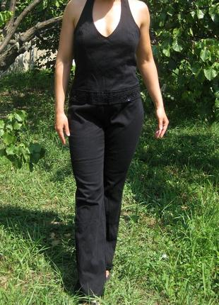 Комбинезон h&m джинсовый чёрный брючный штаны клёш открытая сп...