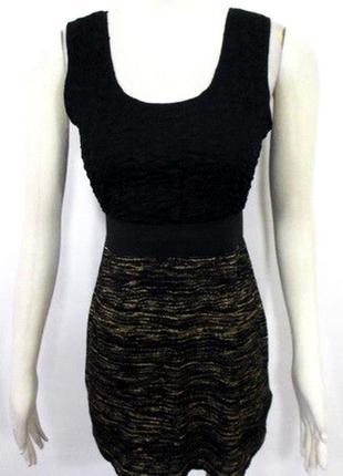 Мини платье h&m облегающее чёрное стрейч обтягивающее с золоты...