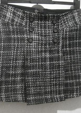 Юбка короткая мини mexx шерстяная серая с пуговицами шерсть ак...