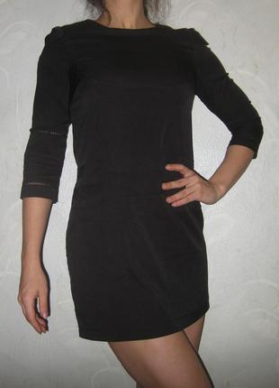 Платье boohoo чёрное короткое прямое четверной рукав
