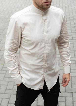 Стильная рубашка льняная воротник стойка