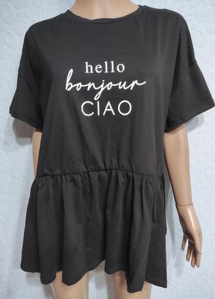 Стильная женская футболка с принтом, футболка с баской