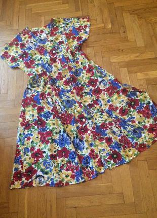 Яркое,летнее,длинное платье на пуговицах,платье-халат,штапель,...