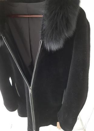 Пальто куртка из натуральной овчины с капюшоном 100% шерсть