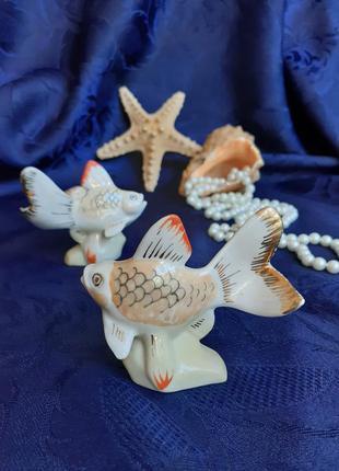 Статуэтки золотая рыбка пара барановка ссср фарфор роспись мин...