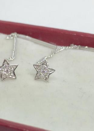 Новые серебряные серьги протяжки звездочка серебро 925 пробы