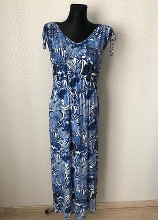 Комфортное трикотажное вискозное сине-голубое платье в пол от ...