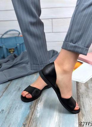 Кожаные балетки с открытым носком