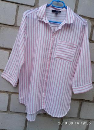 Вискозная объемная  рубашка в полоску с карманчиком на груди р...