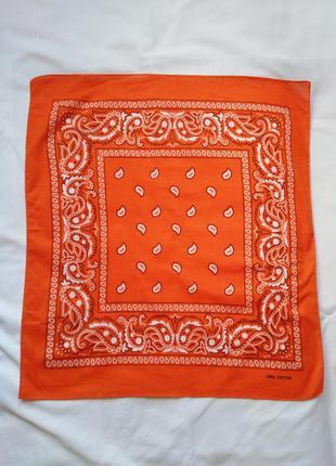 Натуральный хлопок, оранжевая бандана, шейный платочек, декор ...