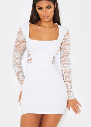Белое платье с кружевом 🔥 короткое платье prettylittlething🔥