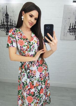 Платье женское с поясом летнее разноцветное приталенное