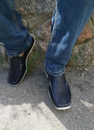 Летние кожаные туфли,мокасины Rieker р.40