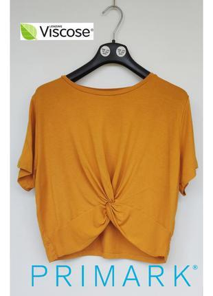 Primark футболка кроп топ в летнем солнечном цвете с узелком