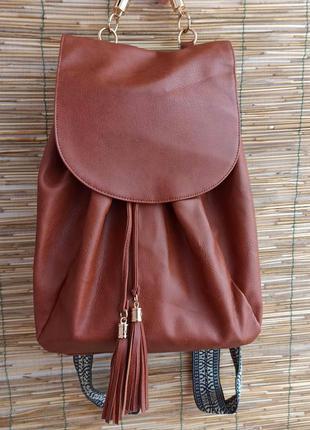 Стильний коричневий рюкзак. стильный женский рюкзак