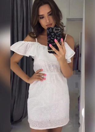 Платье сарафан с рюшами белое ажурное