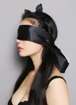 Повязка на глаза (лента) черная из шелка