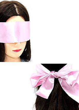 Повязка на глаза (лента) нежно-розовая из шелка