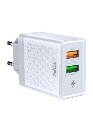 Сетевое зарядное устройство Topk Quick Charge 3.0 28W 2xUSB White