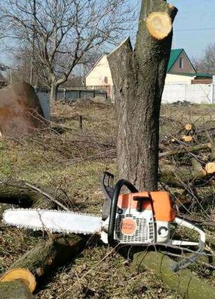 Спилить деревья Валка спил выкорчевка благоустройство участка