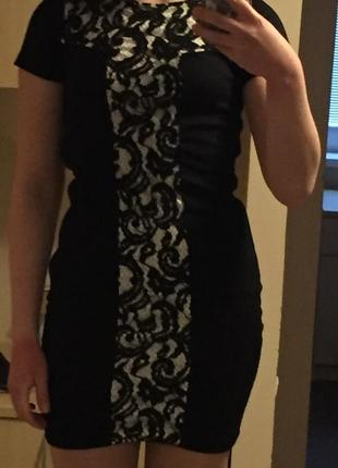 Платье кружевное со вставками по бокам мохито