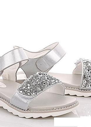 Босоножки девочкам серебряные сlibee гламурные