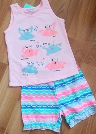 Костюм летний, костюм для девочек, шорты и футболочка, костюм ...
