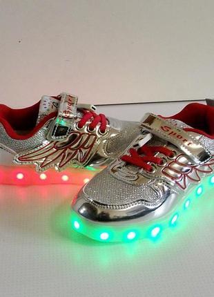 Кроссовки серебряные для девочек с led подсветкой и usb зарядкой