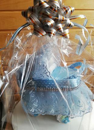 Коляска из памперсов, подарок новорождённой, подарок на выписку
