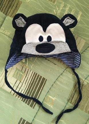 Вельветовая шапка демисезонная для новорождённого мальчика 36/...
