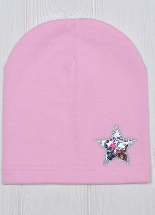 Тонкая трикотажная шапка для девочки от 3 лет 50/54 со звездой