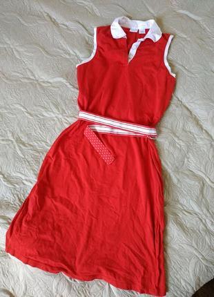 Спортивное красное платье с воротником  ниже колен l 100% cotton