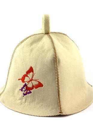 "Шапка для бани luxyart с вышивкой ""бабочки"""
