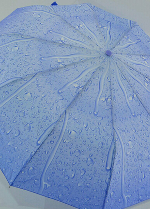 Зонт-полуавтомат на 10 спиц капли дождя светло-голубой