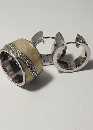 Набор серьги с кольцом 925 пробы с перламутровыми вставками