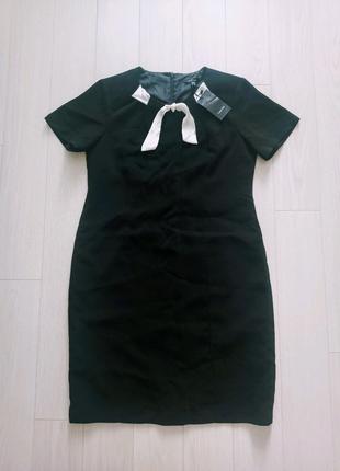 Черное летнее деловое платье, офисный стиль на девушку
