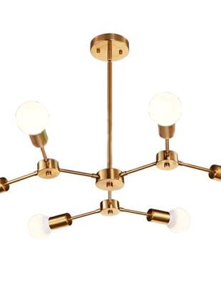 Люстра скандинавский стиль золотая Nordic Sputnik на 6 ламп