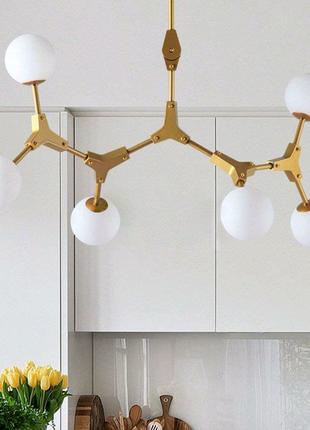 Люстра в золоте на 6 ламп подобна молекулам Molecul 6 Gold