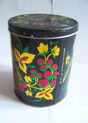 Жестяная металлическая банка коробка для круп чая с рисунком ссср