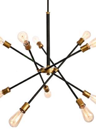 Модная трендовая люстра на 10 ламп Sputnik black & brass