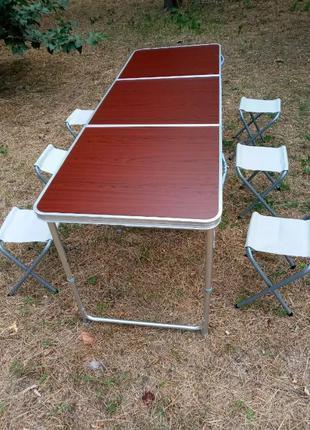 Складной стол большой для пикника + 6 стульев