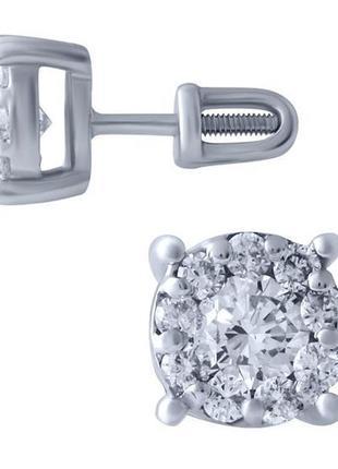 Золотые серьги с бриллиантом, бриллиантом
