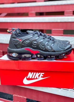 """Мужские черные кроссовки nike air vapormax plus """"black/red"""""""
