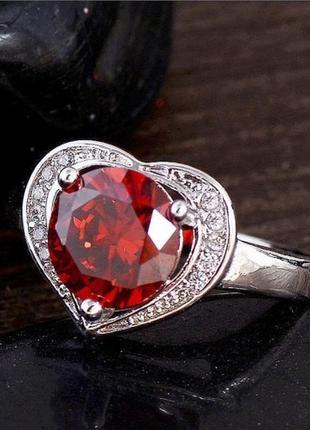 🏵шикарное кольцо в серебре 925 сердце с кубическим цирконием, ...