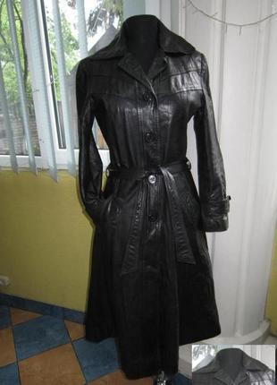 Женский кожаный плащ с поясом genuine leather. франция. лот 636