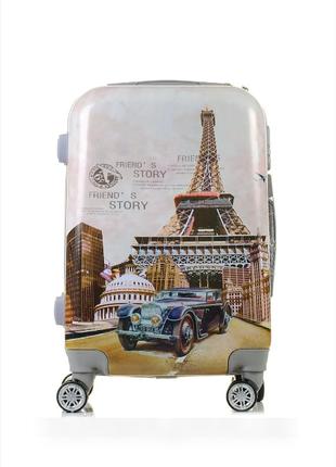Чемодан bon voyage пластиковый маленький дорожный на 4-х колесах