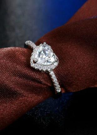 Женское кольцо сердце с кристаллами/квадратное кольцо.